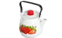 Чайник 3,5 л сфер. декор Клубника садовая, белый, с кнопкой  С2716.3*59 (4)