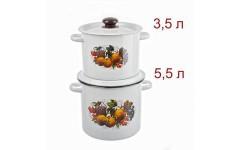 Набор 20 белый Йогурт ( Кастрюли цилиндр.3,5л; 5,5л;) (1) N20B44