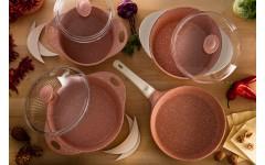 Набор посуды из литого алюм.с сил.р.DARIIS 7пр.(роз.гранит)жар26см с кр,сков.26см,к.2.8л и 4.5л с кр