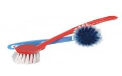 Щетка для мытья посуды круглая с ручкой, цвета в ассортименте (100)