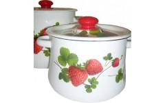 Набор 20 белый с деколью на кр. Летняя ягода ( Кастрюли цилиндр.3,5л; 5,5л;) (1) N20B56