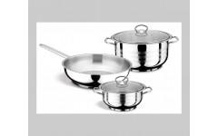 Набор BERLIN 5 предметов  посуды из нержавеющей стали Кастрюля 2л и 5,25 с кр,сковорода 24 см(1)